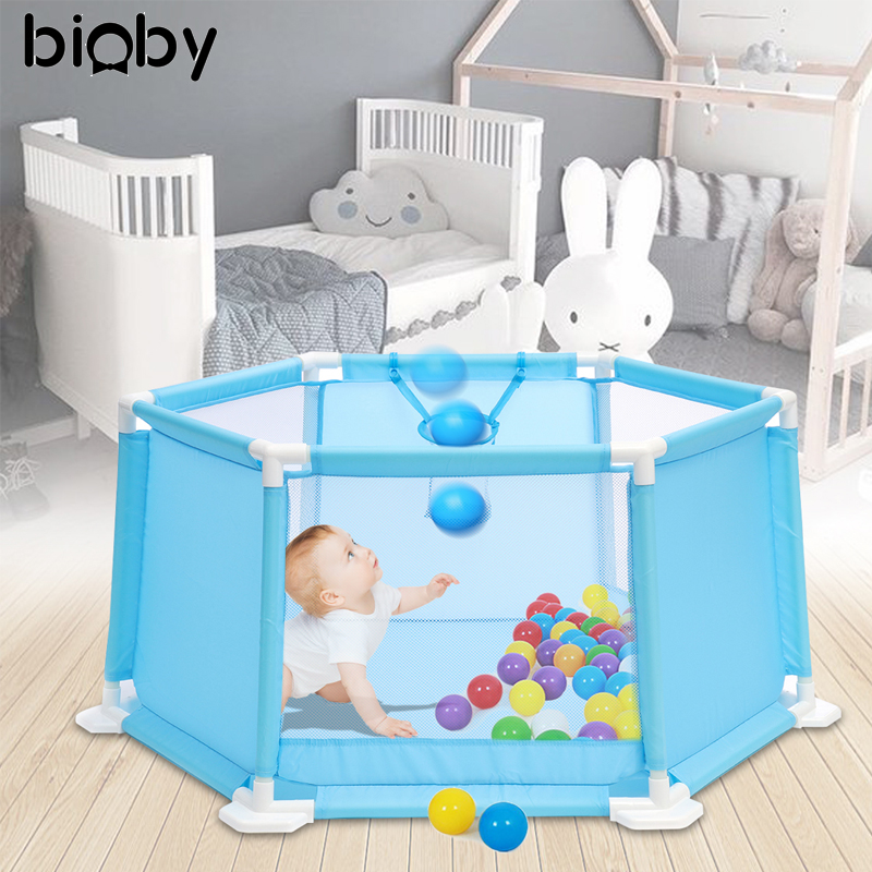 110CM Baby Playpen Portable Plastic Kids Safety Play Center Yard Home Indoor Outdoor Pen Fence For Child Play Tent Ball Pool