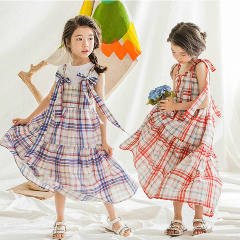 cotton maxi long girls dresses summer autumn 2017 kids clothes red blue plaid girls princess dress baby big children clothing