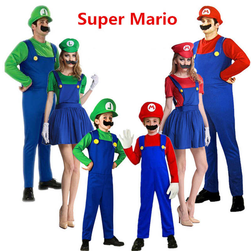 Anime Super Mario Cosplay Costumes Kids Adult Family Funy Luigi Bros Plumber Purim Costume Dress Fancy Ball Christmas Party Suit