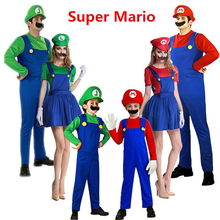 Anime Super Mario Cosplay Costumes Kids Adult Family Funy Luigi Bros Plumber Purim Costume