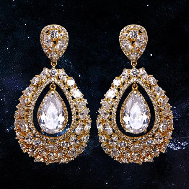 Joyería del partido proveedor 54mm Larga grandes pendientes con forma de lágrima de cristal tallado piedras en Oro y negro color de moda de Lujo pendientes