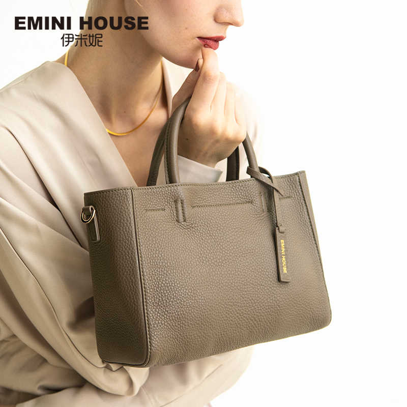 EMINI HOUSE Genuine Leather Tote Bag Crossbody Bags For Women Luxury Handbags Women Bags Designer Split Leather Shoulder Bag