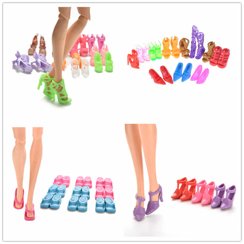 10 Pairs Fashion Boots High Heels Shoes Sandals For Barbie Doll Accessories Xmas Gifts Multiple Choice