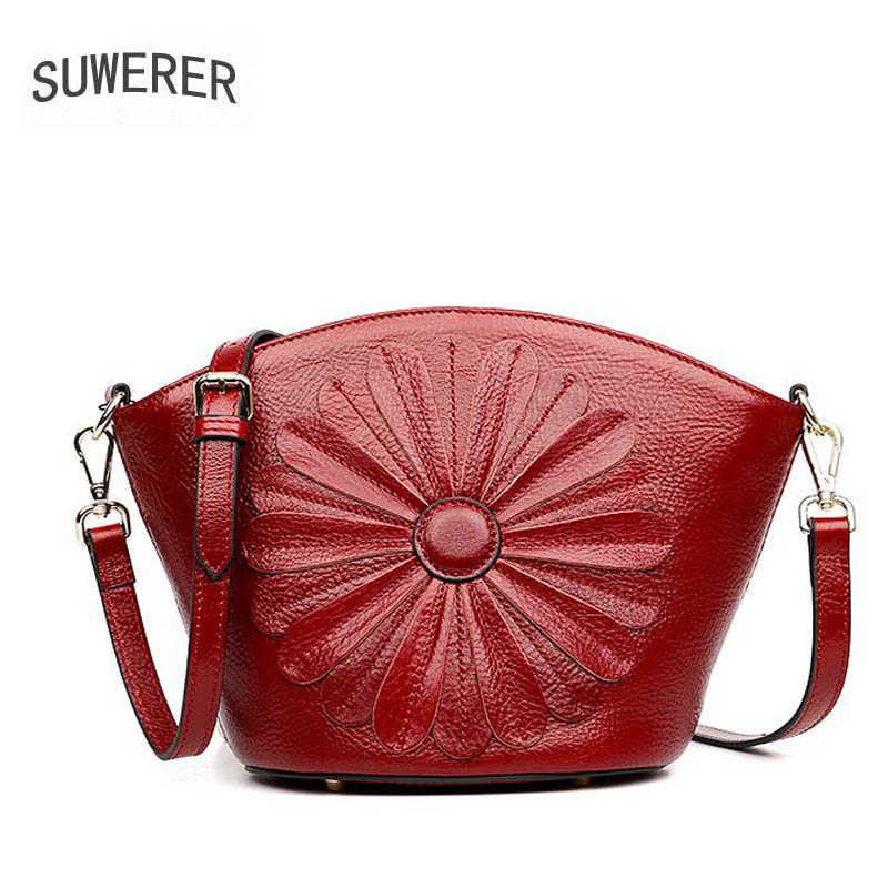 Top-handle Bags Systematic Suwerer2018 New High-quality Fashion Luxury Brand Leather Flower Diagonal Cross Shoulder Bag Leather Bag Counter Genuine Women