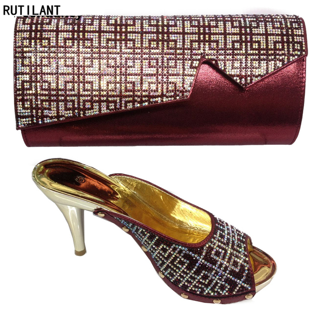 2a73fb150e7 Wine Color Italian Shoes with Matching Bags Nigerian Women Wedding Shoes  and Bag Set Italian Ladies Shoes and Bags To Match Set