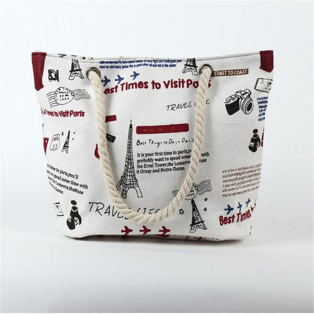 Animals and Letters Printed Canvas Bag