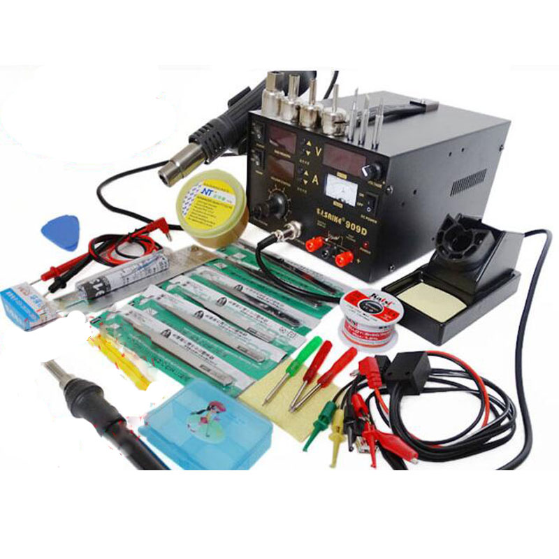 ФОТО 110V or 220V Saike 909D 3 in 1 Heat Air Gun Solder Iron Soldering Station+Power Supply