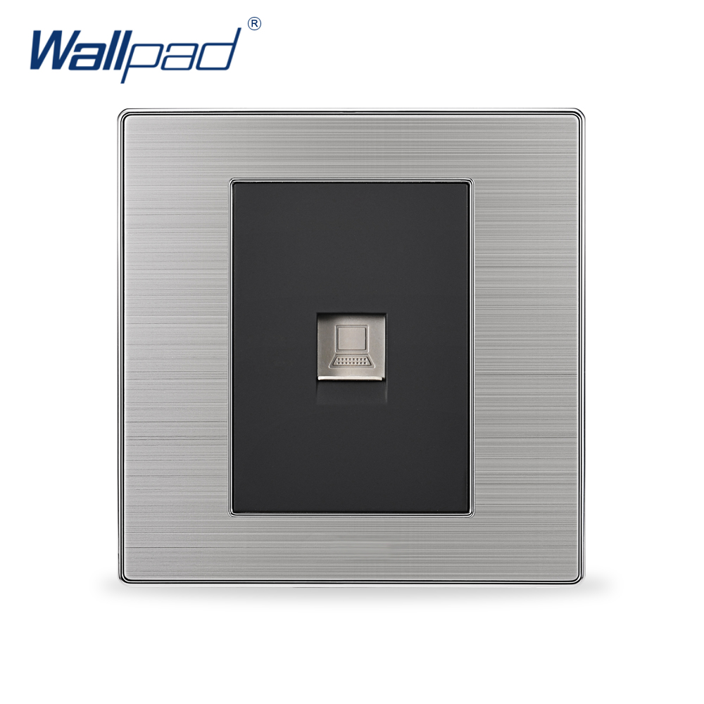 2018 Hot Sale COM Socket Wallpad Luxury Wall Switch Network Outlet Black / Champagne AC 110-250V