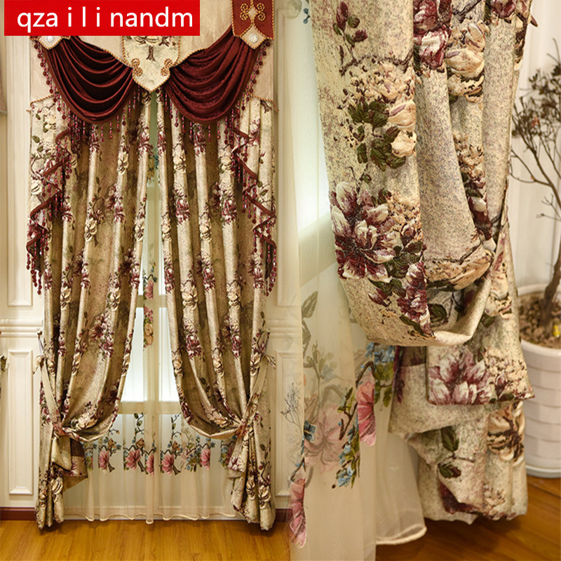 Luxury 3D Jacquard Villa Curtains For Bedrooms With High Quality Embroidered Tulle Living Room Elegant Drapes European Curtains