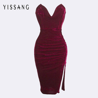 2015 New Fashion Bandage Dress S M L Women Sexy Off The Shoulder Strapless Bodycon Mini Dress Casual Velvet Dress