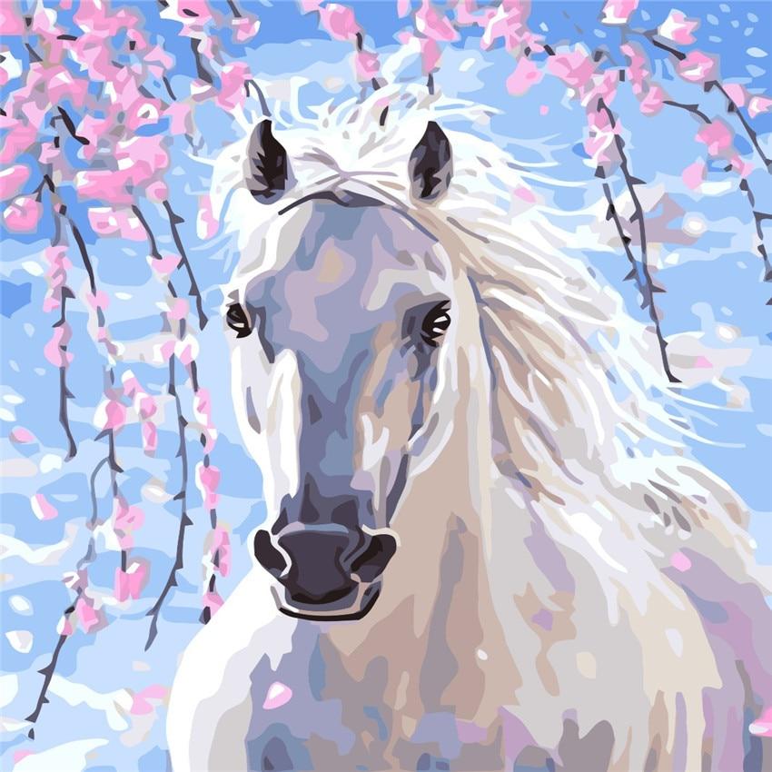 Άσπρο άλογο Sakura Ελαιογραφία με - Διακόσμηση σπιτιού - Φωτογραφία 1