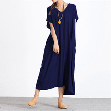 Plus Size One-Piece Dress Womens European Fashion Loose Solid Ladies Oversize 4xl 5xl Casual Vestidos Floor Length