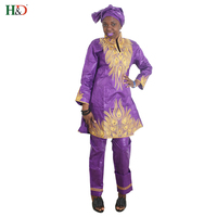 Hot sale African bazin riche dressebazin three-piece traditional African cotton scarf long dress pants African pants