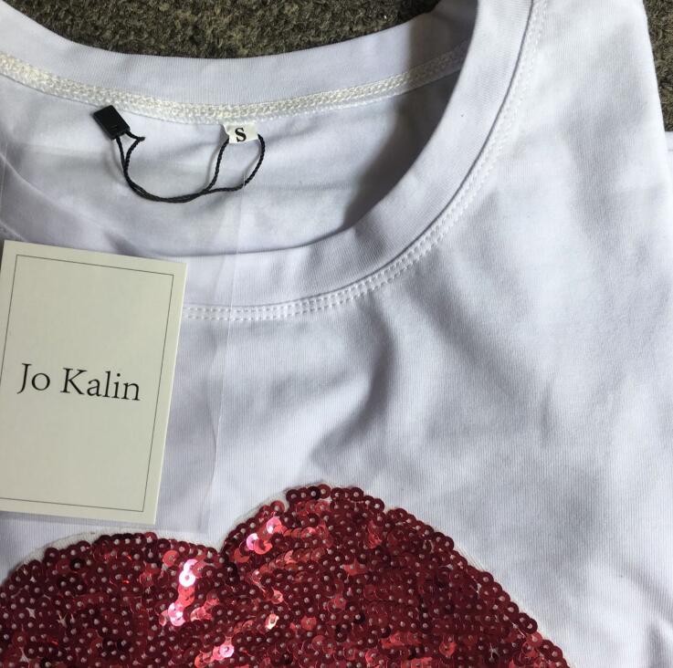 HTB1IJ.LQpXXXXbCXpXXq6xXFXXXX - New Fashion for women summer short sleeve sequin red lips tshirt