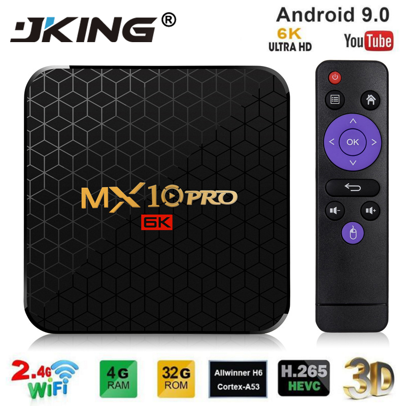 Android 9.0 TV Box MX10 PRO 4GB RAM 64GB Wifi Allwinner H6 Quad Core USB 3.0 6K Google Player Youtube Tanix décodeur
