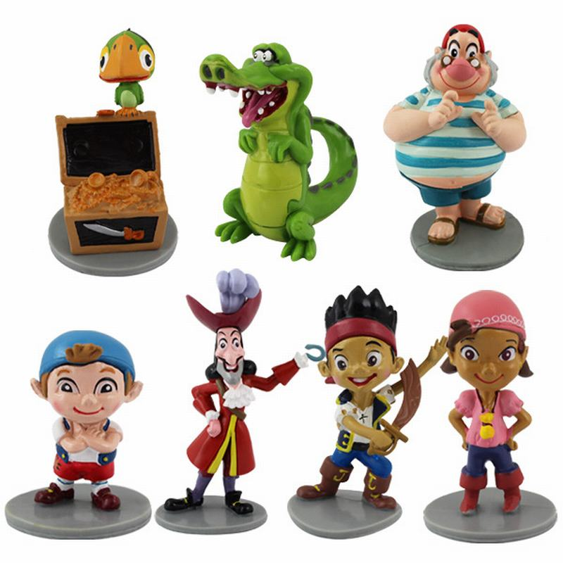 Tatalia 7pcs/Set Anime Cartoon Jack AND Neverland Pirate Caribbean Pirate Dolls PVC Action Figure Collectible Model Toys ...