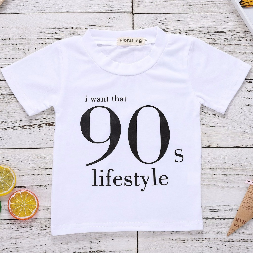 2018 Fashion White Tshirt Kids I Want That 90s Lifestyle Letter Print Boys Short Sleeve Tshirt Baby Girl Summer Tops Unisex Tee