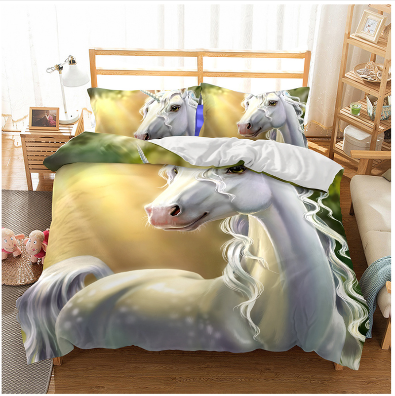 Fanaijia Cartoon unicorn bedding set queen size 3d printed Quilt Cover With Pillowcases Bed kids bedlineFanaijia Cartoon unicorn bedding set queen size 3d printed Quilt Cover With Pillowcases Bed kids bedline