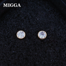 MIGGA Classic Small 4mm Clear Austrian Crystal Stud Earrings for Women Girls Rose Gold Color Jewelry