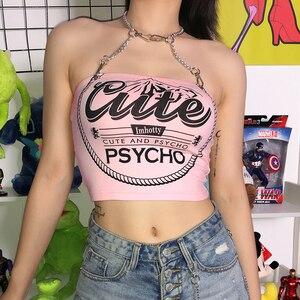 Image 3 - Sweetown Punk Gothic Metal Chain Halter Tank Top Vrouwelijke Roze Brief Gedrukt Leuke Crop Top Shirt Hot Summer Holiday Streetwear