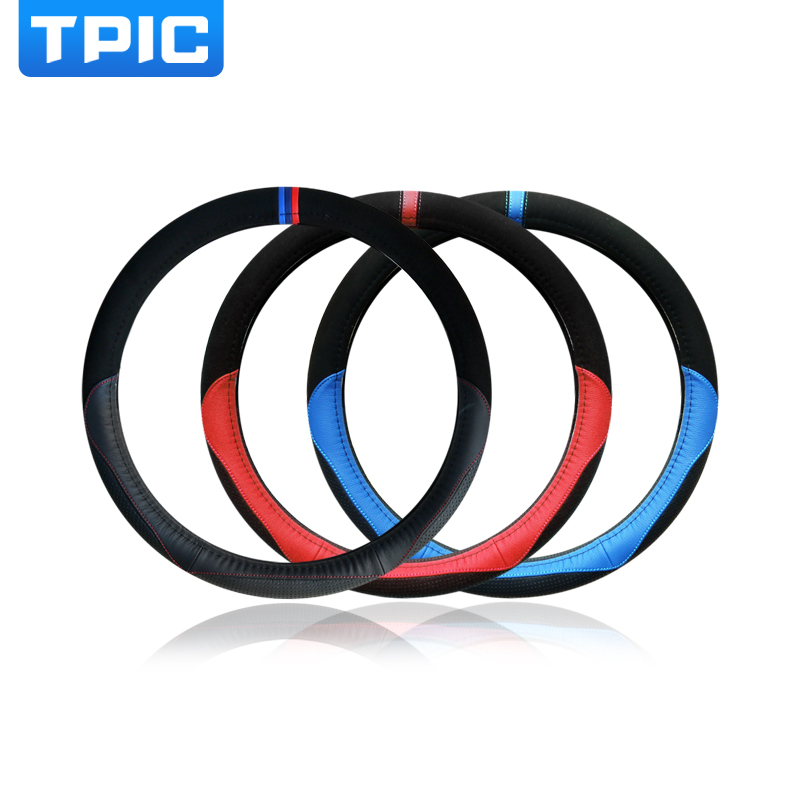 TPIC Car Steering Wheel Cover Sport Style Genuine Leather 38CM Steering wheel Covers For BMW E90