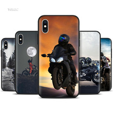 Silicone Black Case for iPhone XR X XS MAX 7 8 6 6S Plus 5 5S SE 7Plus 8Plus Mobile Phone Moto Cross motorcycle sports