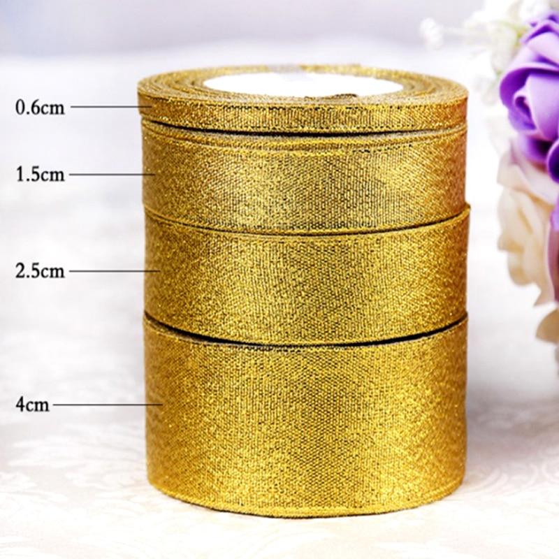 Gold Silver Organza Ribbon Wedding Floristry Cake Birthday Gift Wrap Craft