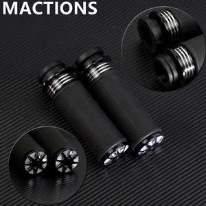 """Image 1 - Motorcycle Accessories 1"""" Electric Burst Handlebar Hand Grips Black For Harley Touring Dyna Softail Custom For Honda For Yamaha"""