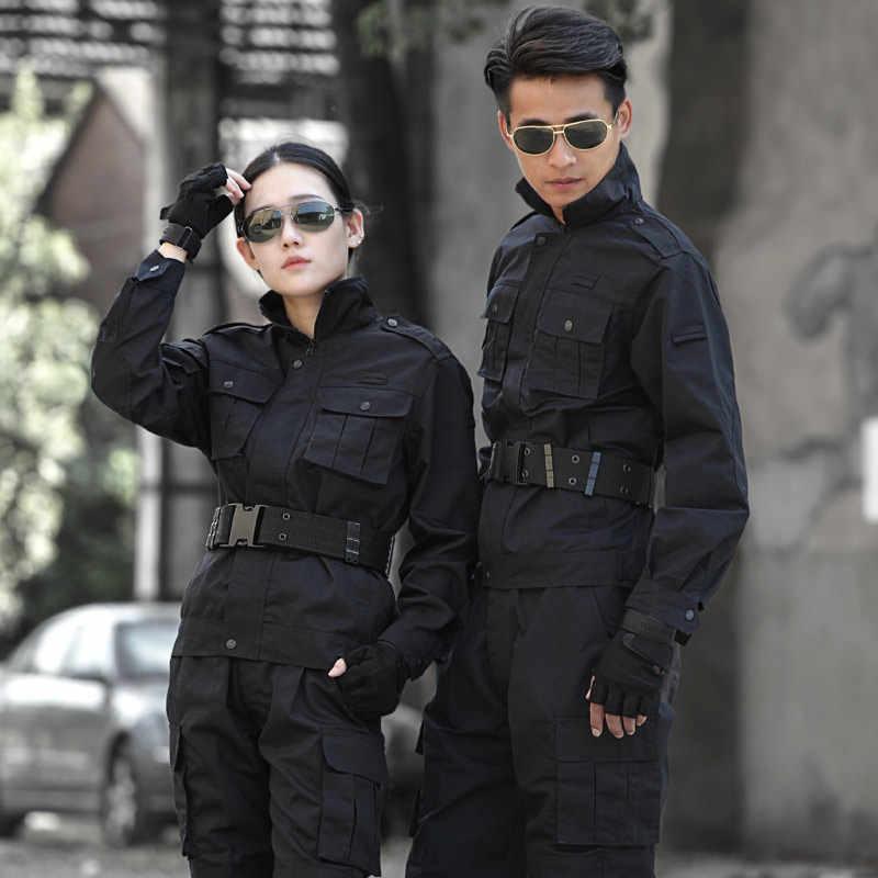 Черная охотничья одежда военная Униформа Мужская s охотничья одежда тактическая боевая рубашка + брюки карго Открытый армейский Ghillie костюм для мужчин