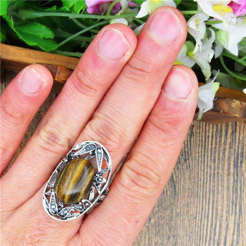 เสือตาหินธรรมชาติแหวนสำหรับสุภาพสตรีเหล้าองุ่นใบไม้พืชพลอยเทียมเงินโบราณชุบแฟชั่นเครื่องประดับ