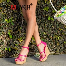 купить ENMAYER Buckle Strap Genuine Leather    Womens Shoes  High Heels Sandals Women  Plataformas Mujer Sandalias   Size 34-43 ZYL2596 по цене 3002.82 рублей