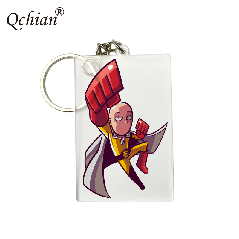 Specifications 4cm*6cm Transparent Acrylic One Punch Man HD PNG Format Picture Printed Series Keychain Logo Customization