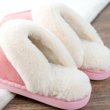 Women House Slippers Winter Warm Shoes Women Slip-on Suede Fur Plush House Slipper Indoor Bedroom Couples Memory Foam Home Shoes 1