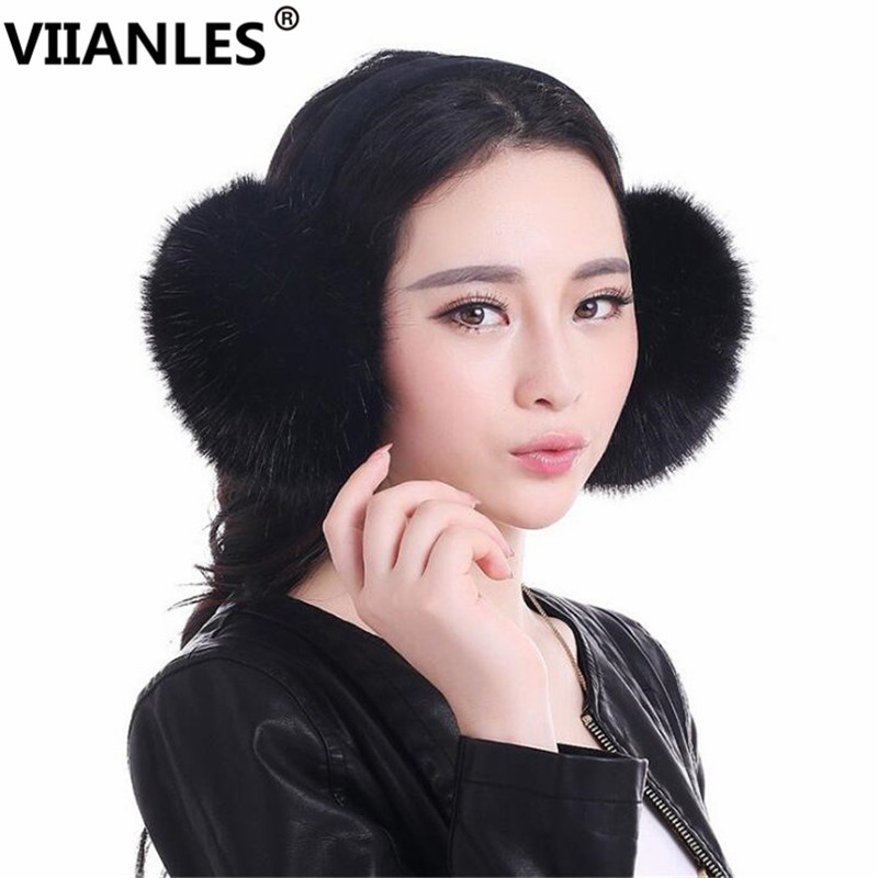 VIIANLES Winder Rabbit Warm Earmuffs Wool Fashion The Imitation Unisex Hot For Women Girls Earmuff White Black Pink Earmuffs