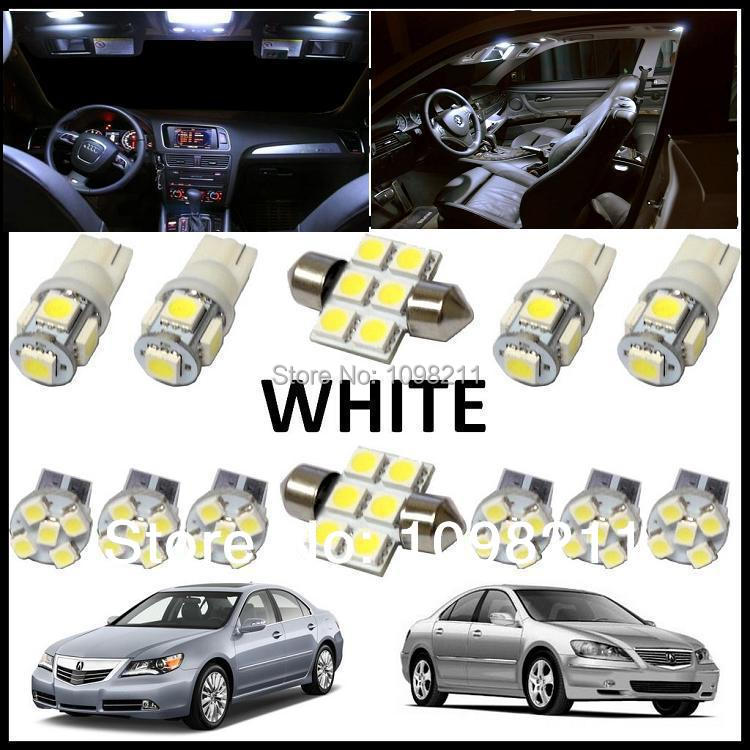 12PCS Set White LED Lights Interior Package Kit For Acura
