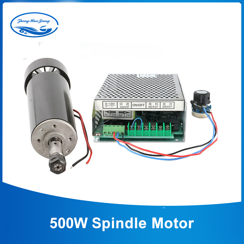 Ar de refrigeração 0.5kw ar refrigerado eixo er11 mandril cnc 500 w motor do eixo + regulador de velocidade da fonte alimentação para diy cnc