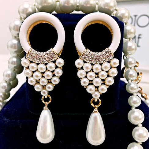 1 paire de petite et grosse perle Boucles d/'oreilles longues pendants d/'oreilles Déclaration Dangler Parti oreille