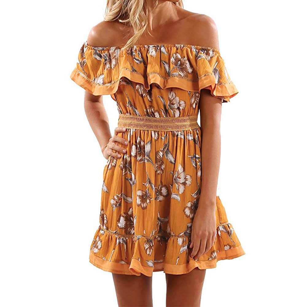 Women Ladies Off Shoulder Butterfly Draped Dress Short Elegent Print  Sundress Plus size Dresses brazil Roupa feminina Yellow -in Dresses from  Women\'s ...