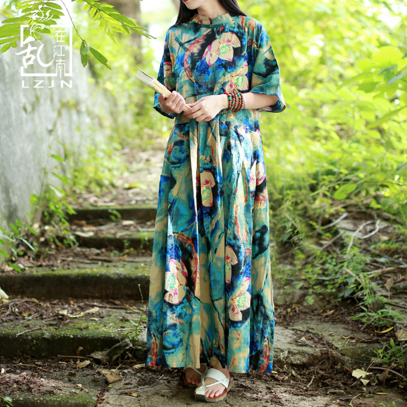 3a555deb12 LZJN Plus Size Women Dresses 2019 Summer Maxi Dress Half Sleeve Mandarin  Collar Mori Girl Casual