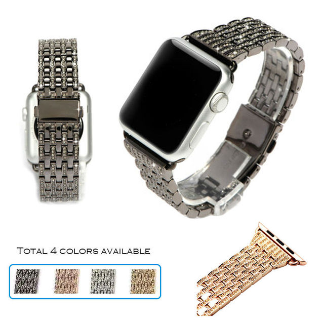 URVOI band for apple watch 1 2 strap/wrist stainless steel link bracelet with Luxury Glitter zirconia rhinestone-studded blink