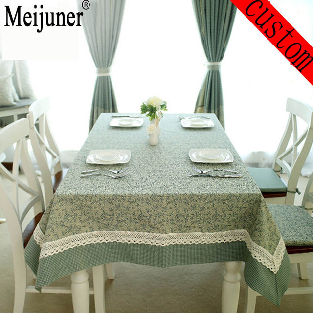Meijuner Hot Leaves Grid printed Christmas Table cover Dining Mantel Green Tablecloth Rectangular wedding pastoral tablecloth