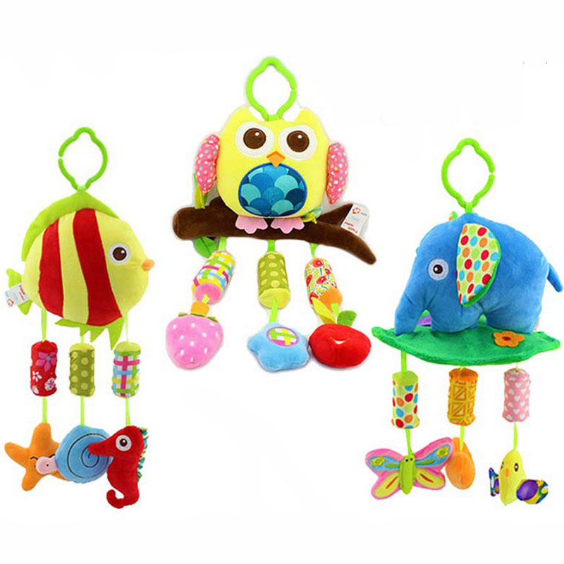 Baby Infant Wind Chimes Children Boys Girls Plush Toys Animal Owl Elephant Fish Appease Educational Baby Rattle Mobil Toys