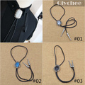 Vintage Western America Style Mens Male Cowboy Opal Bolo Tie Rodeo Dance Aztec Leather Party Neckwear