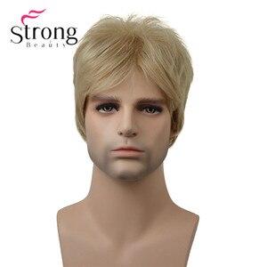Image 1 - StrongBeauty בלונד קצר Striaght מלא סינטטי פאה לגברים זכר שיער Fleeciness מציאותי פאות צבע אפשרויות