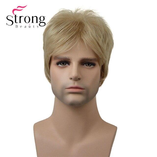 StrongBeauty בלונד קצר Striaght מלא סינטטי פאה לגברים זכר שיער Fleeciness מציאותי פאות צבע אפשרויות