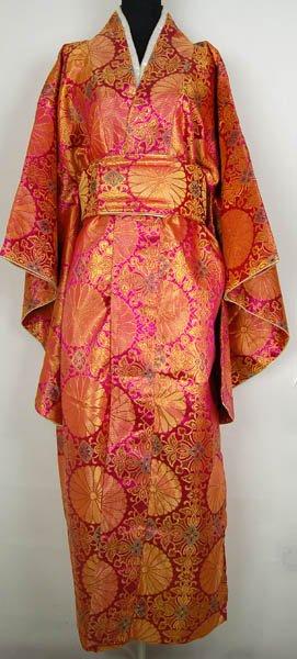 Rose vif Vintage japonais femmes Satin Polyester Kimono ropa Mujeres japonesas Yukata robe fleur taille unique livraison gratuite H0013