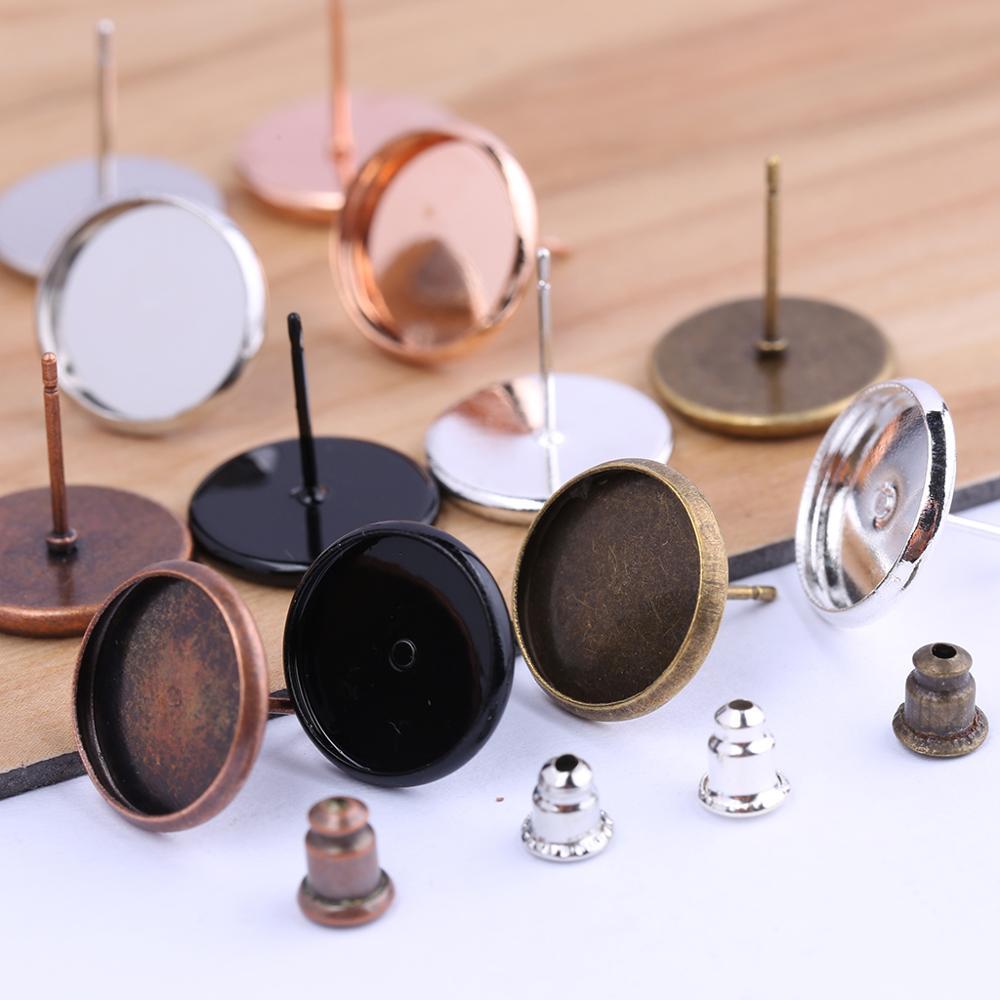 Reidgaller 50pcs Stud Earring Base Settings Fit 12mm Glass Cabochon Round Diy Blank Bezels For Earrings Making