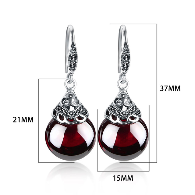 JIASHUNTAI Retro 100% 925 Sterling Silver Round Garnet Drop Earrings For Women Natural Red Gemstone Ruby Fine Jewelry Best Gifts 2