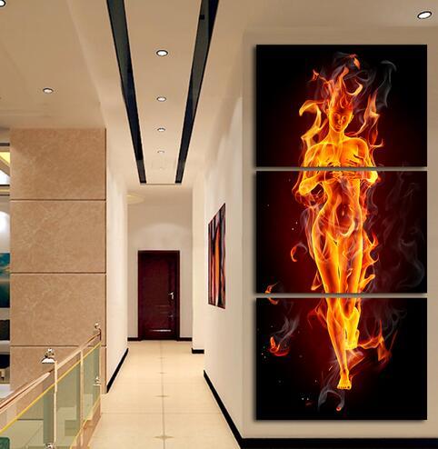 3 Pièce Abstrait Flaming Nu Modèle Femme Moderne Mur Peinture Maison  Couloir Galerie Décor Art HD Imprimé Toile Photo Sans Cadre Dans Peinture  Et ...