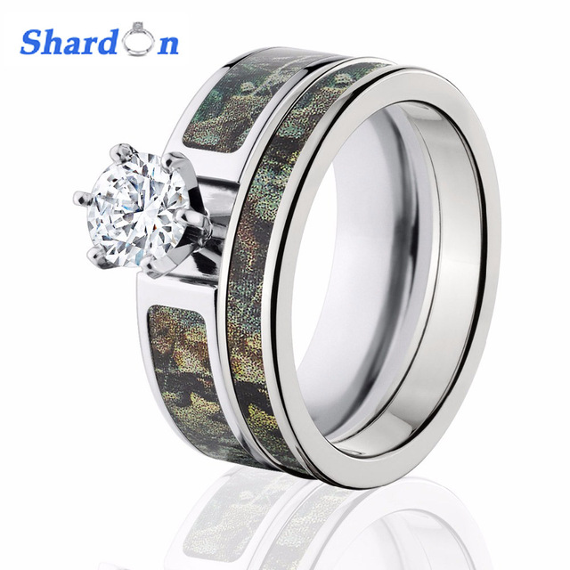 22a7fadd4 SHARDON Women's Green Mossy Oak Camo Engagement Ring Set Titanium 6 Prong  Setting CZ Pink Camo Ring Set for Women-2pcs